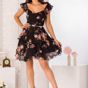 rochie eleganta scurta din voal cu imprimeu floral 2