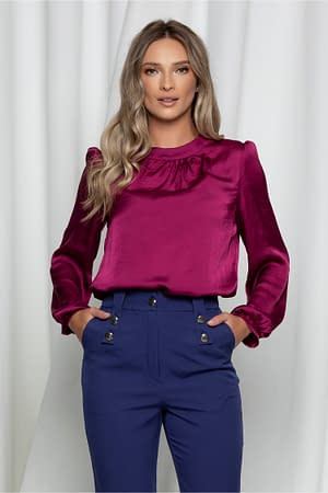 bluza moze magenta satinata cu guler la baza gatului 942678 751191 4