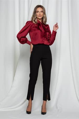 pantaloni moze negri cu talie inalta si crepeuri la baza 942543 751218 4